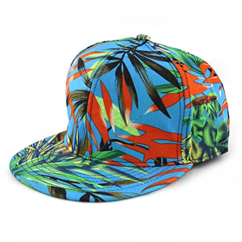 ZLYC Women's 2015 Floral Print Flatbill Visor Snapback Casual Baseball Hat (Blue 2)