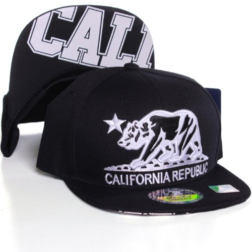 California Republic Flat Bill Visor Snapback Hat Cap - Multiple Colors
