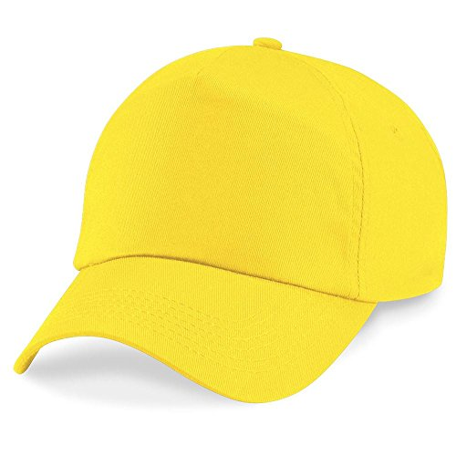 Beechfield Unisex Plain Original 5 Panel Baseball Cap (One Size) (Yellow)
