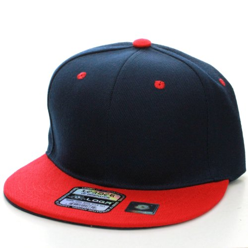 L.O.G.A. Plain Adjustable Snapback Hats Caps (Many Colors). (One Size, Navy Red)