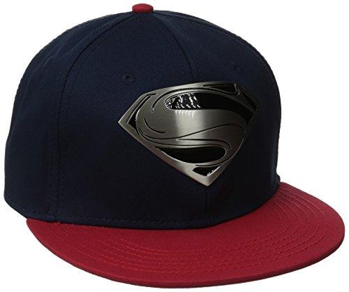 Superman Men's Metal Logo Flat Brim Baseball cap