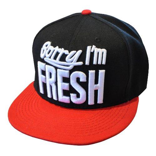 Sorry I'm Fresh 2-Tone Black & Red Snapback Baseball Cap