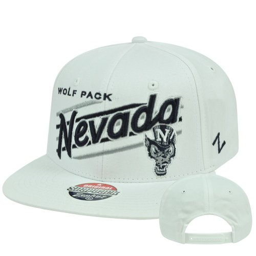 NCAA Nevada Wolf Pack Upshot White Zephyr Adjustable Snapback Flat Bill Hat Cap