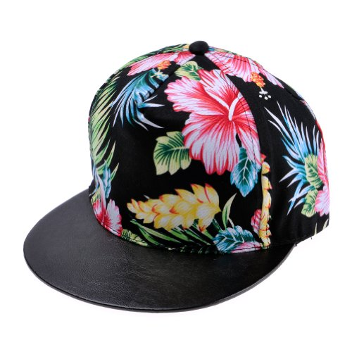 Zlyc Women's 2014 Summer Floral Flower Leaf Plant Neon Pattern Flatbill Adjust Baseball Hat (Black)