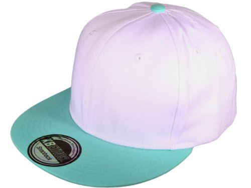 Ht_kbe-snapback-wh/mi Wholesale Cotton Flat 7m16q9w4318 Bill Blank/plain Snapback Hats w/ Gray S85110tljw Underbill (White/mint) Hat Cap Head Hair Face
