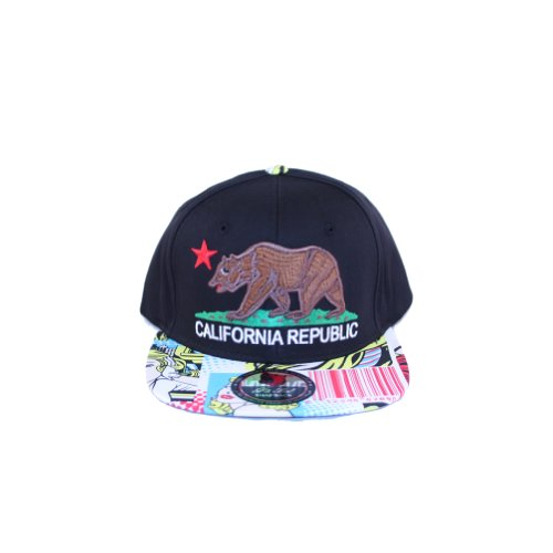 California Republic Snapback Hat Black Crown Graphic Comic Design Lid