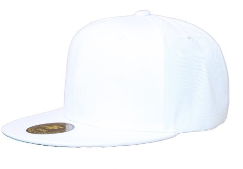 New AF Solid Flatbill Snapback hat - White