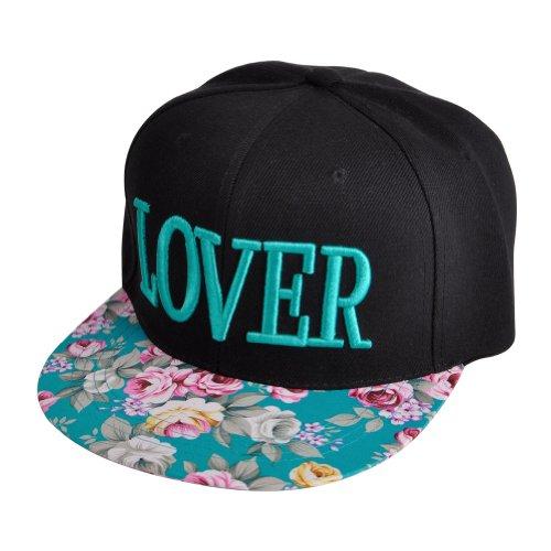 ZLYC Women's 2014 Flatbill Visor Snapback Baseball Hat Floral Print Neon Sign (TEXT-LOVER)