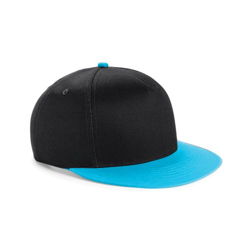 Beechfield Youth Unisex Retro Snapback Cap (One Size (12-16 Years)) (Black/ Surf Blue)