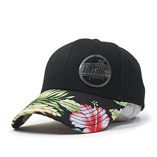 3c39c9c3939 Premium Floral Hawaiian Cotton Twill Adjustable Snapback Hats Baseball Caps  (Varied Colors) (Black Hawaiian)