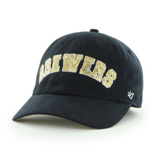 MLB Milwaukee Brewers '47 Brand Natalie Sparkle Adjustable Cap, One Size, Navy