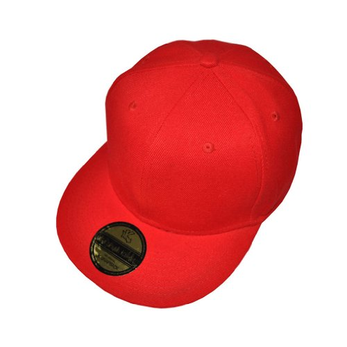 Plain Red Flat Peak SnapBack Baseball Cap