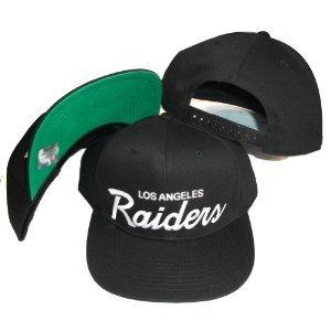 Los Angeles Raiders Black Plastic Snapback Adjustable Plastic Snap Back Hat / Cap
