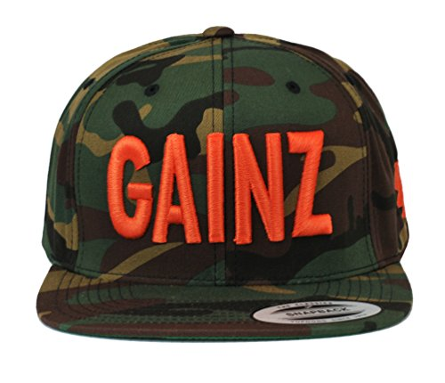 YoungLA Gains Gainz BodyBuilding Gym Working Out Snapback Flatbill Cap Hat Adjustable Snap Back Camoflage Orange