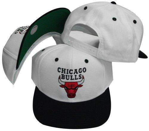 Chicago Bulls White/Black Two Tone Plastic Snapback Adj