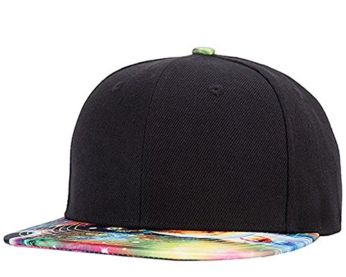 WELITY Men's Galaxy Canvas Flat Panel Brim Hip Hop Trucker Snap Back Cap Hat Black