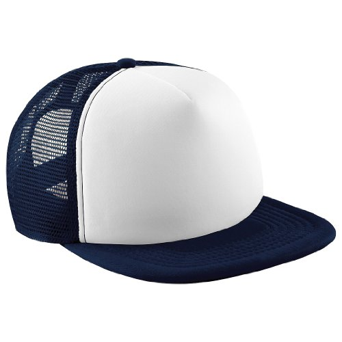 Beechfield Vintage Plain Snap-Back Trucker Cap (One Size) (French Navy/White)
