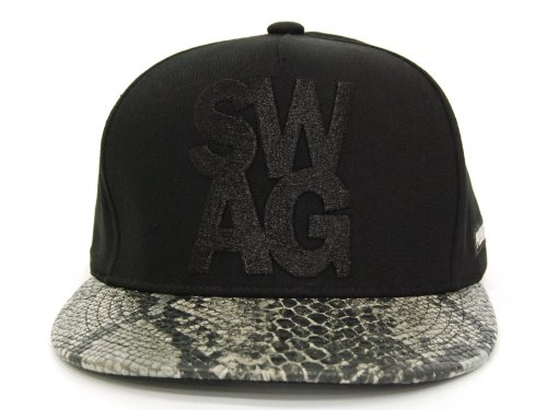 SWAG Snakeskin Leather Snapback hat Silver by gogoyong